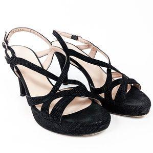 Stuart Weitzman Dressy Strappy Black Heels 6.5